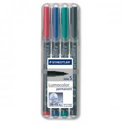 Pennarello Lumocolor Permanent 313 - 4 colori - punta 0,4mm - Staedtler - busta 4 pennarelli