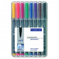 Pennarello Lumocolor Permanent 313 - 8 colori - punta 0,4mm - Staedtler - busta 8 pennarelli
