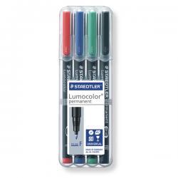 Pennarello Lumocolor Permanent 318 - 4 colori - punta 0,6mm - Staedtler - busta 4 pennarelli