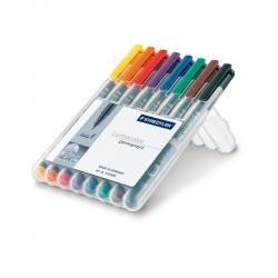 Pennarello Lumocolor Permanent 318 - 8 colori - punta 0,6mm - Staedtler - busta 8 pennarelli