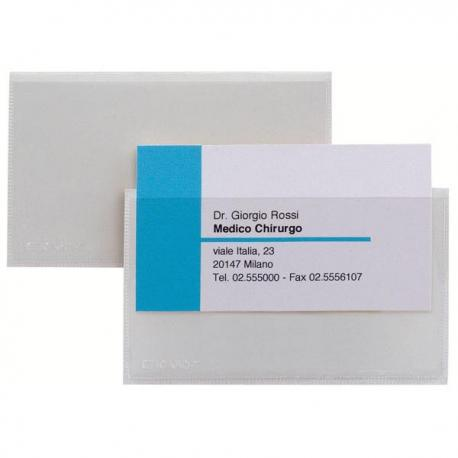 Portabiglietti da visita autoadesivi Eticard T - PVC - 5,5x9 cm - trasparente - Sei Rota - conf. 10 pezzi