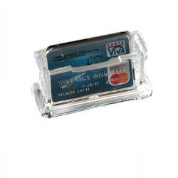 Portabiglietti da visita acrilico - da tavolo - 11,5x5,5x4,5 cm - trasparente - Lebez