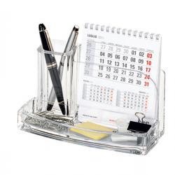 Portatutto da scrivania - acrilico - 20x12x10 cm - trasparente - Lebez