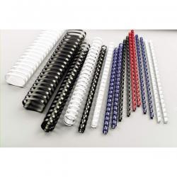 Scatola 100 dorsi spirale - plastica - 21 anelli - 8mm - bianco - GBC