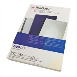 Scatola 100 copertine Traditional - A4 - 220gr - cartoncino bianco liscio - GBC
