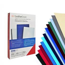Scatola 100 copertine LeatherGrain - A4 - 250gr - cartoncino rosso scuro goffrato - GBC