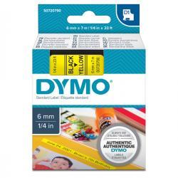 Nastro D1 - 436180 - 6mmx7mt - nero/giallo - Dymo