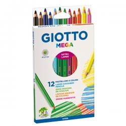 Astuccio 12 pastelli colorati Mega - esagonale - Giotto