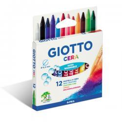Pastelli cera - 90mm - ø 8.5mm- colori assortiti - Giotto - Conf. astuccio 12 colori