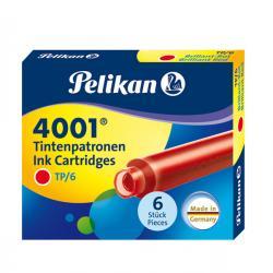 Cartucce inchiostro 4001 (TP/6) - lunghezza 39mm - rosso - Pelikan - scatola 6 cartucce