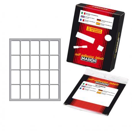 Etichetta adesiva - permanente - rettangolare - 34x21 mm - 20 etichette per foglio - 10 fogli per busta - bianco - Markin