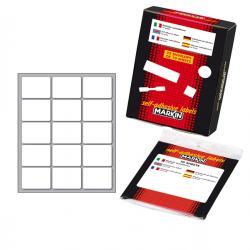 Etichetta adesiva - permanente - rettangolare - 37x27 mm - 15 etichette per foglio - 10 fogli per busta - bianco - Markin