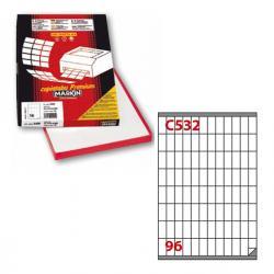 Etichetta adesiva C532 - permanente - 16,3x35,4 mm - 96 etichette per foglio - bianco- Markin - scatola 100 fogli A4