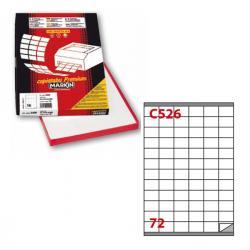 Etichetta adesiva C526 - permanente - 35x23,5 mm - 72 etichette per foglio - bianco - Markin - scatola 100 fogli A4