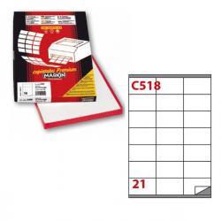 Etichetta adesiva C518 - permanente - 70x40 mm - 21 etichetta per foglio - bianco - Markin - scatola 100 fogli A4