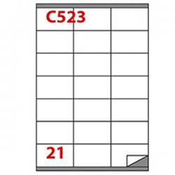 Etichetta adesiva C523 - permanente - 70x41 mm - 21 etichette per foglio - bianco - Markin - scatola 100 fogli A4