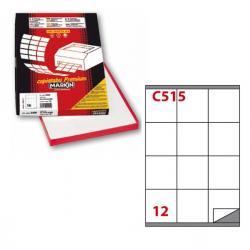 Etichetta adesiva C515 - permanente - 70x72 mm - 12 etichette per foglio - bianco - Markin - scatola 100 fogli A4
