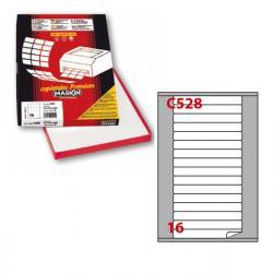 Etichetta adesiva C528 - permanente - 145x17 mm - 16 etichette per foglio - bianco - Markin - scatola 100 fogli A4