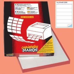 Etichetta adesiva C529 - permanente - 210x48 mm - 6 etichette per foglio - bianco - Markin - scatola 100 fogli A4