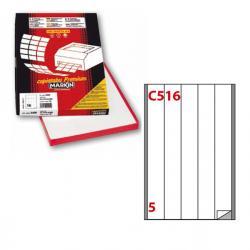 Etichetta adesiva C516 - permanente - 40x297 mm - 5 etichette per foglio - bianco - Markin - scatola 100 fogli A4