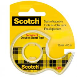 Nastro biadesivo Scotch® - in chiocciola - permanente - senza liner - 6,3 m x 12 mm - trasparente - Scotch®