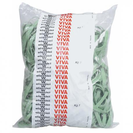 Elastici fettuccia - ø 15 cm - verde - Viva - sacco da 1 kg