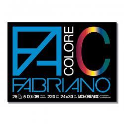 Blocco FaColore - 240x330mm - 25fg - 220gr - 5 colori - Fabriano