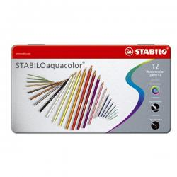 Astuccio metallo 12 pastelli colorati Aquacolor 1612 - Stabilo