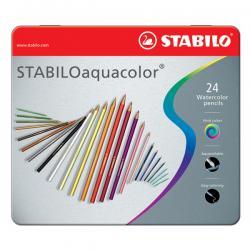 Astuccio metallo 24 pastelli colorati Aquacolor 1624 - Stabilo