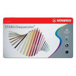 Astuccio metallo 36 pastelli colorati Aquacolor 1636 - Stabilo