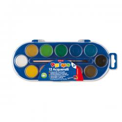 Acquerelli - ø 30mm - colori assortiti - Primo - Astuccio da 12 pastiglie