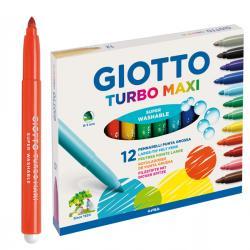 Pennarelli Turbo Maxi - punta ø5mm - colori assortiti - Giotto - astuccio 12 pezzi
