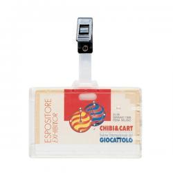 Portanome con clip in plastica - 9x6 cm - Favorit