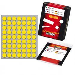 Etichetta adesiva - permanente - tonda ø 14 mm - 63 etichette per foglio - 10 fogli per busta - giallo - Markin