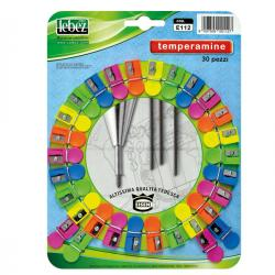 Temperamine E112 - colori assortiti - Lebez - cartella 30 temperamatite