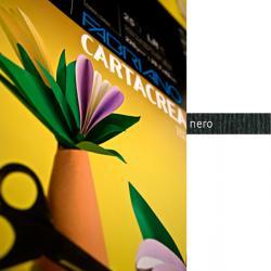 Cartoncino CartaCrea - 35x50cm - 220gr - nero 115 - Fabriano - blister 10 fogli