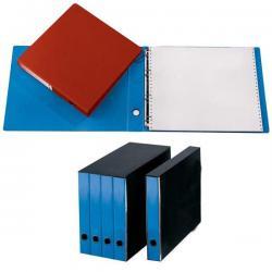 Portatabulati ad anelli - con custodia (singolo) - dorso 5 cm - 32x29 cm - azzurro - Cartotecnica del Garda