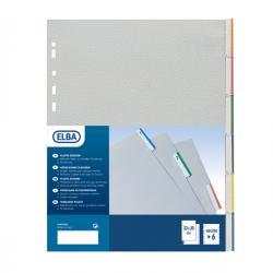 Separatore - 6 tacche personalizzabili - PPL - 22x30 cm - grigio - Favorit