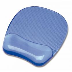 Mousepad con poggiapolsi in gel - blu trasparente - Fellowes