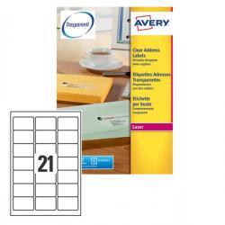 Etichetta adesiva L7560 - poliestere - adatta a stampanti laser - permanente - 63,5x38,1 mm - 21 etichetta per foglio - traspare