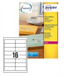 Etichetta adesiva L7562 - poliestere - adatta a stampanti laser - permanente - 99,1x34 mm - 16 etichette per foglio - trasparent