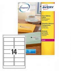 Etichetta adesiva L7563 - poliestere - adatta a stampanti laser - permanente - 99,1x38,1 mm - 14 etichette per foglio - traspare