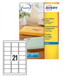 Etichetta adesiva J8560 - poliestere - adatta a stampanti inkjet - 63,5x38,1 mm - 21 etichetta per foglio - trasparente - Avery