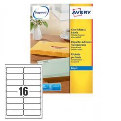 Etichetta adesiva J8562 - adatta a stampanti inkjet - 99,1x34 mm - 16 etichette per foglio - trasparente - Avery - conf. 25 fogl