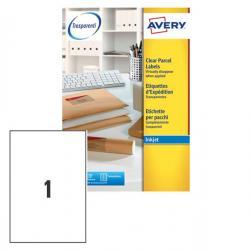 Etichetta adesiva J8567 - poliestere - adatta a stampanti inkjet - 210x297 mm - 1 etichetta per foglio - trasparente - Avery - c
