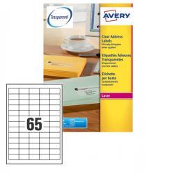 Poliestere adesivo L7551 trasparente 25fg A4 38,1X21,2mm (65et/fg) laser Avery