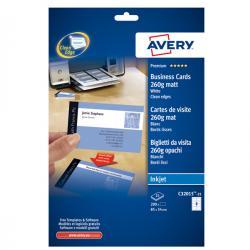 Biglietti da visita - 85 x 54mm - 260gr - effetto opaco - 8 biglietti - Avery - conf. 25fg