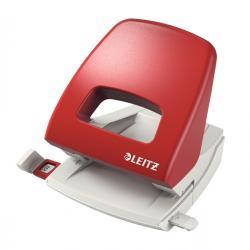 Perforatore Metal Rim 5005 - passo 8 cm - massimo 25 fogli - 2 fori - rosso - Leitz