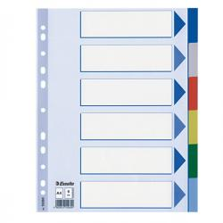 Separatore - 6 tasti colorati - PPL - A4 - multicolore - Esselte