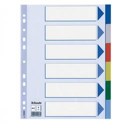 Separatore - 6 tasti colorati - PPL - A4 - multicolore - Esselte